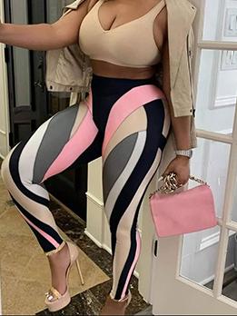 Contrast Color Design Sporty Skinny Long Pants