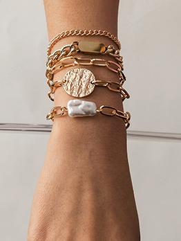 Chic Shape Faux-Pearl 5 Piece Bracelet Set