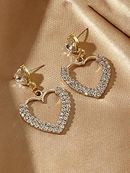 Light Luxury Double Zircon Faux-Pearl Heart Earring
