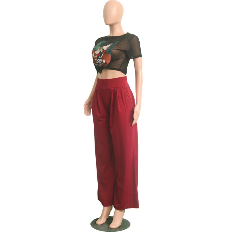 Euro Fashion Elastic Flare Loose Pants