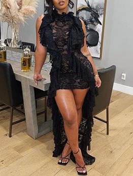 Sexy Black Lace Patchwork Ruffle Sleeveless Maxi Dress