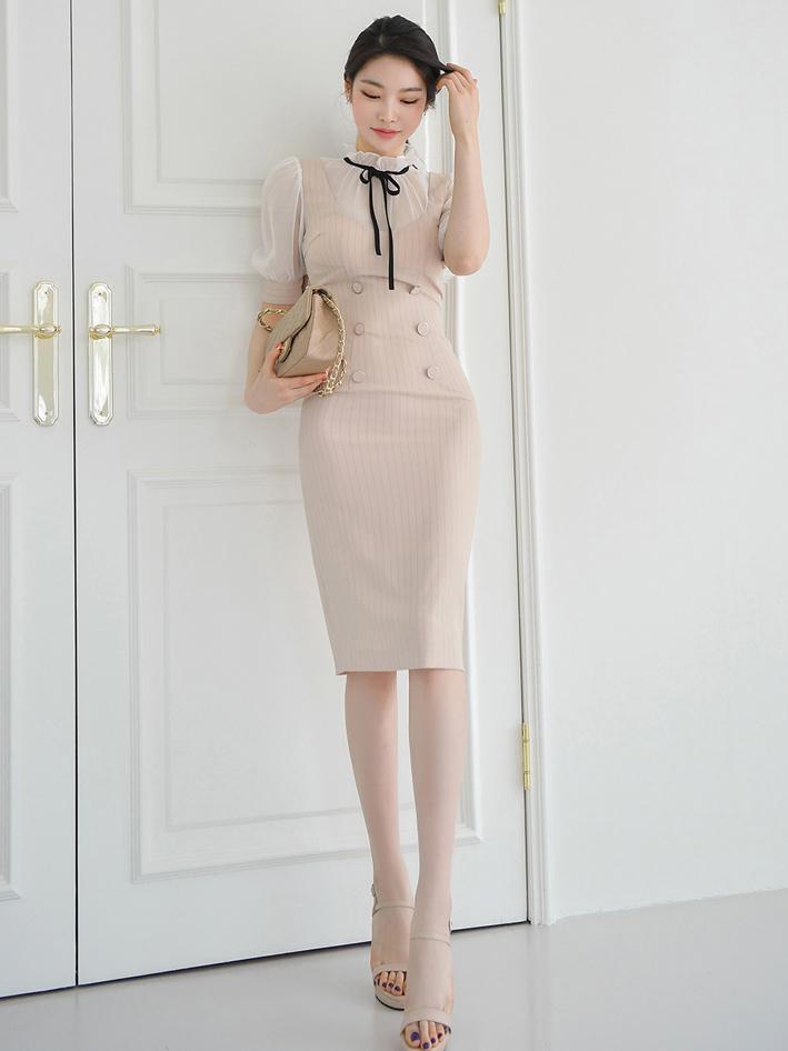 Elegant Striped Patch Puff Sleeve Dress