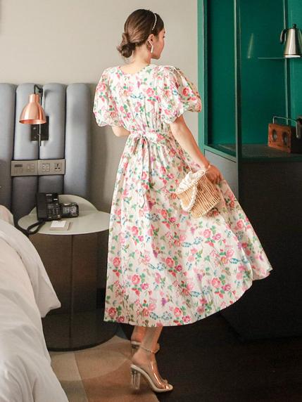Retro Style Adorable Puff Sleeve Maxi Dress