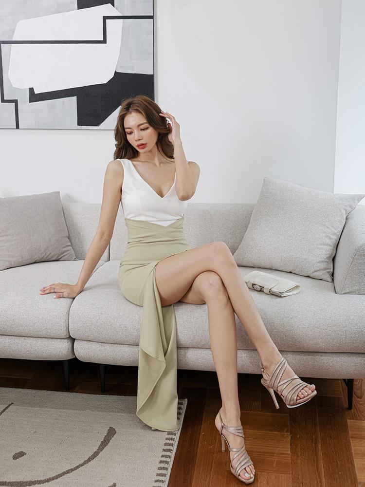 Korean Style Contrast Color Sexy Maxi Dress