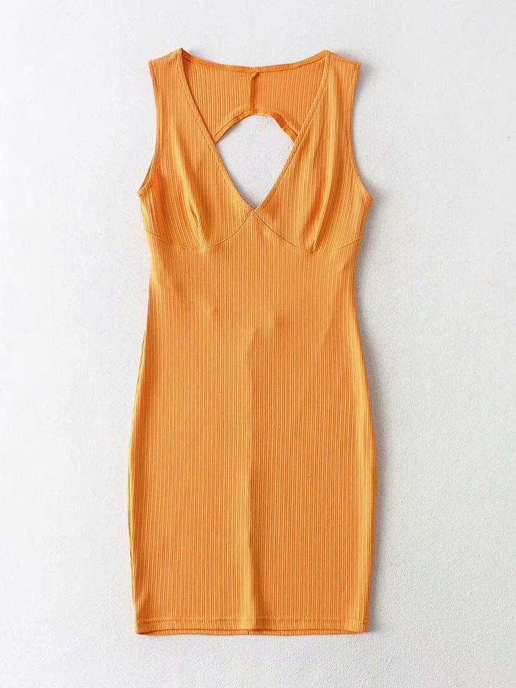 Summer Sexy V Neck Hollow Out Bodycon Dress