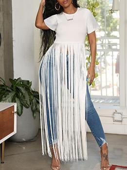 Solid Fashion Tassel Design Short Sleeve T-Shirt
