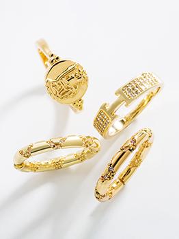 Korean Style Simple Copper Zircon Fashion Couple Ring
