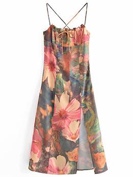 Attractive Lace Up Spaghetti Strap Sleeveless Slit Dress