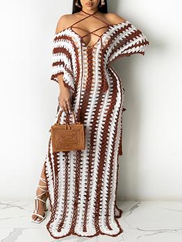 Summer Beach Knitted Off Shoulder Maxi Dresses