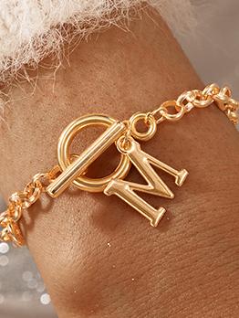 Popular New Letter Golden OT Buckle Women Bracelet