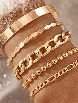 Bohemian Thick Chain Hollow Out 5 Piece Bracelet Set