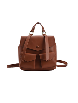 Preppy Style Solid Hasp Pocket Backpack For Women