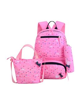 Cute Printed Pocket Nylon Backpack Set For Girl