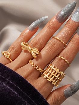 Fashion Lovely Bow Twist Geometry Six-Piece Ring