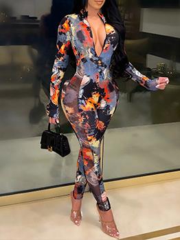 Fashion Bodycon Zipper Long Sleeve Jumpsuit For Women
