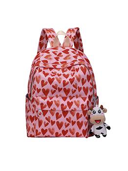 Casual Heart Print Backpacks For Girls