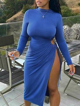 Fashion Solid Long Sleeve Slit Midi Dress