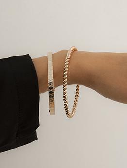 Simple Solid Twist Metal Bracelet Set