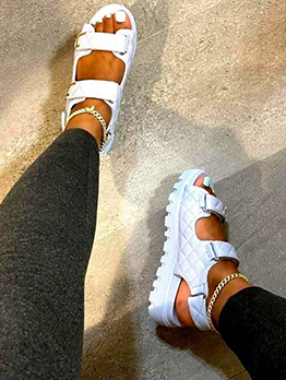 Casual Solid Rhombus Flat Sandals For Women