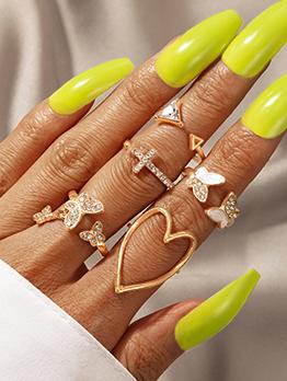 Modern Rhinestone Triangle Butterfly Heart Shape Ring Set