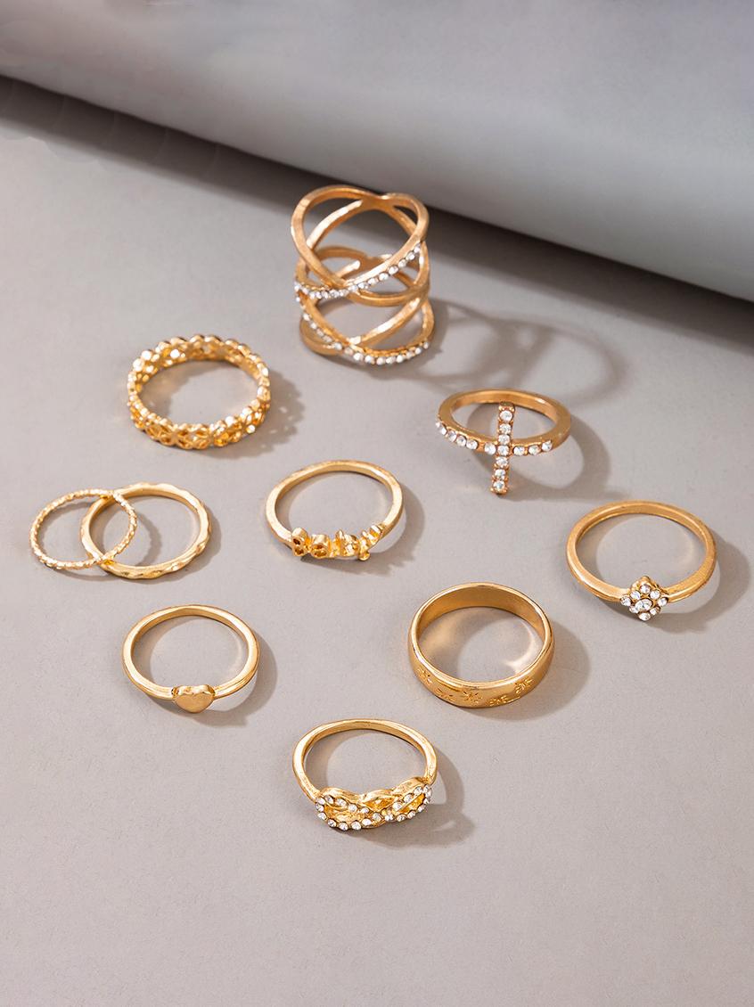 New Arrival Letter Rhinestone Heart Vintage Ring Set
