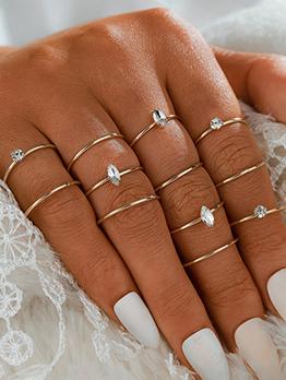 Adorable Alloy Simple Rhinestone Multiple Rings