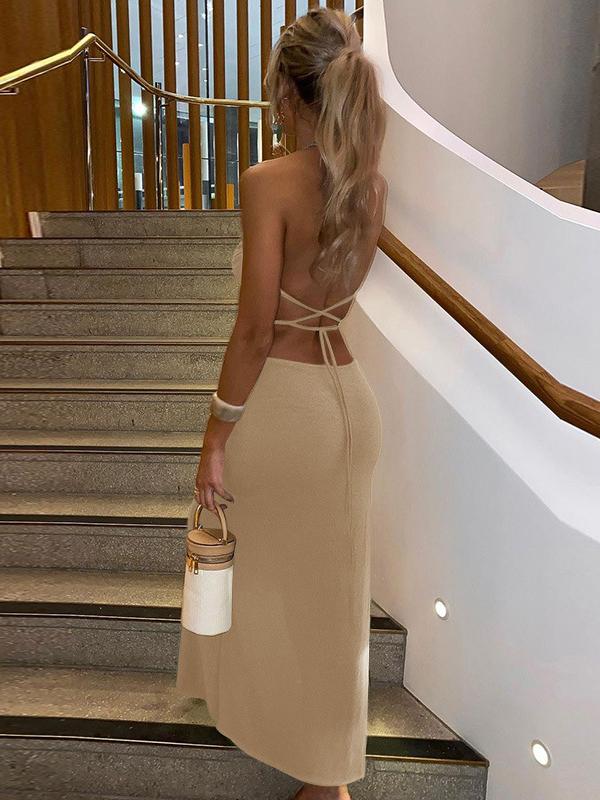 V Neck Elegant Backless Party Maxi Dresses