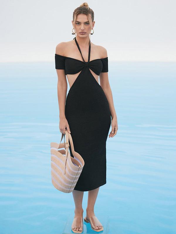 Bodycon Sexy Off Shoulder Short Sleeve Midi Dress Solid