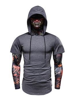Fashion Hooded Collar Patchwork Long Sleeve Men Shirt