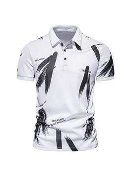 Summer Printed Turn-Down Collar POLO Shirt For Men