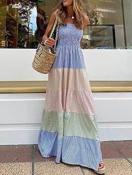 Attractive Contrast Color Tie-Wrap Maxi Dress