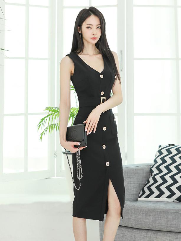 Light Luxury Single-Breasted Sleeveless Summer Dress