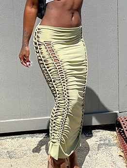 Sexy Hollow Out Ruched Maxi Skirt