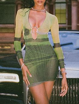 Night Club Print V Neck Sheath Dress