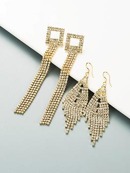 Fashion Fringe Rhinestone Geometry Korean Style Earring