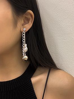 Baroque Geometry Alloy Bead Faux-Pearl Earring