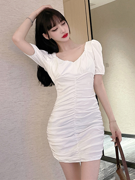 Chic Solid Short Sleeve Ruched Short Dress