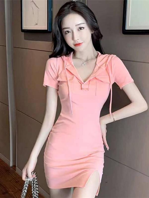 Fresh Solid Hooded Neck Short Sleeve Slit Dress