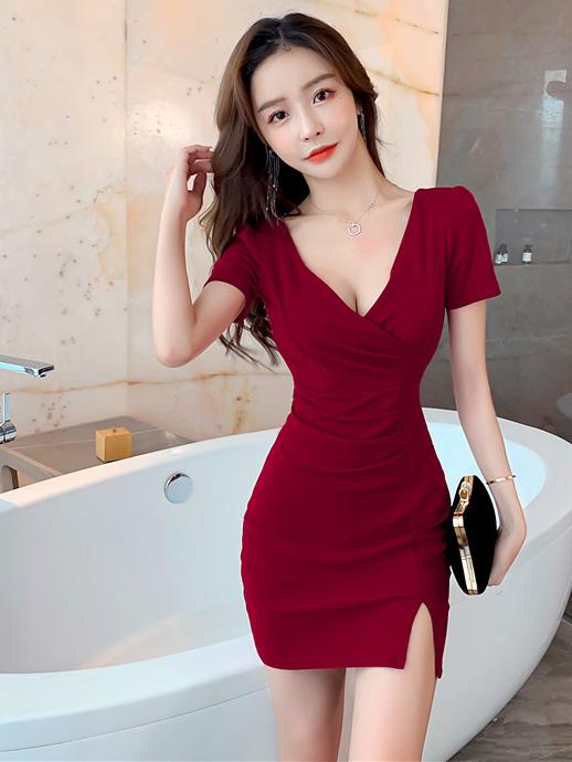 Seductive Solid Deep V Neck Short Sleeve Slit Dress