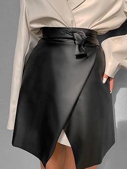 Pu Black High Waist Tie Wrap Skirt