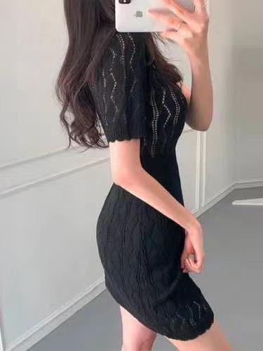 Summer Solid Elegant Short Sleeve Dress