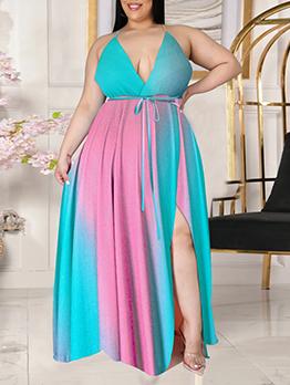 Bohemian Style V Neck Backless Plus Size Maxi Dress