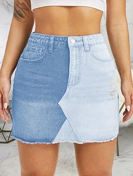 Contrast Color Patchwork Stylish Bodycon Denim Skirt