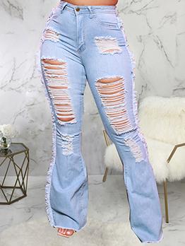 Street Trendy Cool Holes Design Chic Women Jeans