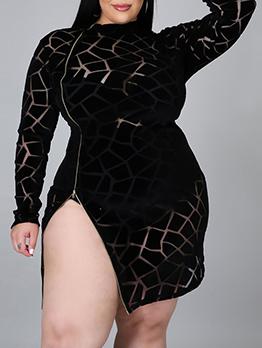 New Zipper Print Long Sleeve Plus Size Dress