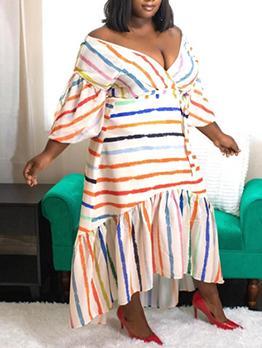 V Neck Contrast Color Striped Loose Maxi Dress