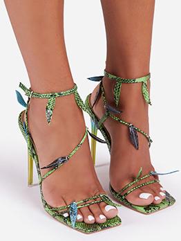 Fashion Snake Print Stiletto High Heels Sandals