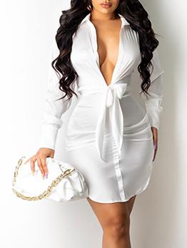 Fashion Solid V Neck Long Sleeve Blouse Dress