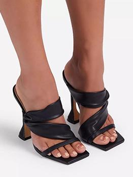 New Square Toe Goblet Heel Ladies Slippers