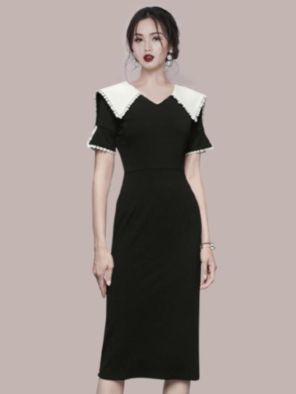 Modern Contrast Color Doll Collar Short Sleeve Dress
